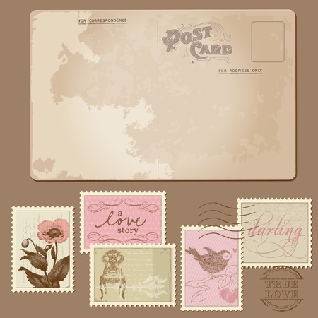 Vintage Postcard and Postage Stamps - for wedding design, invitation, congratulation, scrapbook Stock Vector - 10662876