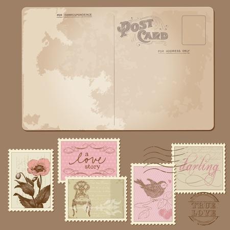 Vintage Postcard en postzegels - voor het huwelijk van het ontwerp, uitnodiging, felicitatie, scrapbook Vector Illustratie