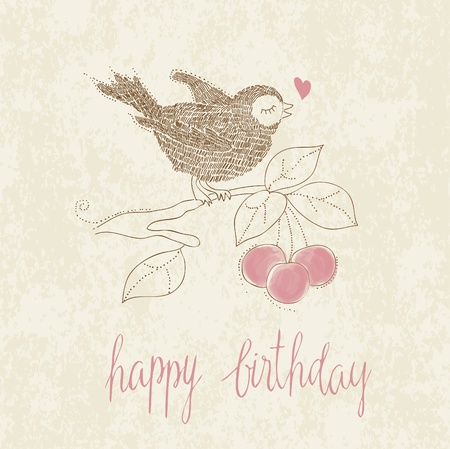 Greeting Birthday Card with Cute Bird and cake with candle - in vector Vector