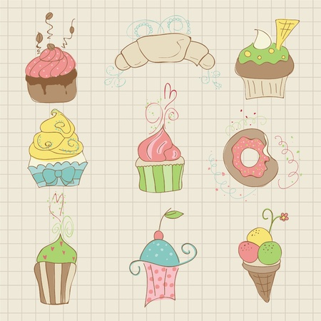 Set of Cute Cupcakes and Desserts -  for design, scrapbook, invitation Vector