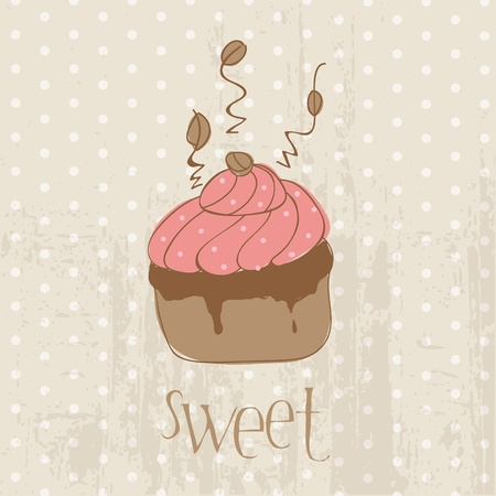 Vintage Cake Postcard  - for design, invitation, congratulation, scrapbook Vector