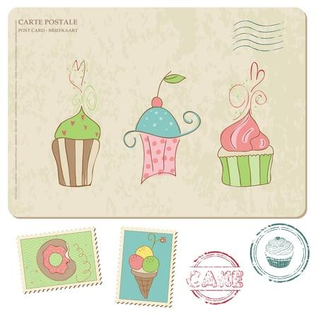 dates fruit: Conjunto de pastelitos de tarjeta postal, con sellos - para el dise�o y scrapbooking Vectores