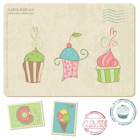 baby cupcake: Set of cupcakes on old postcard, with stamps - for design and scrapbooking