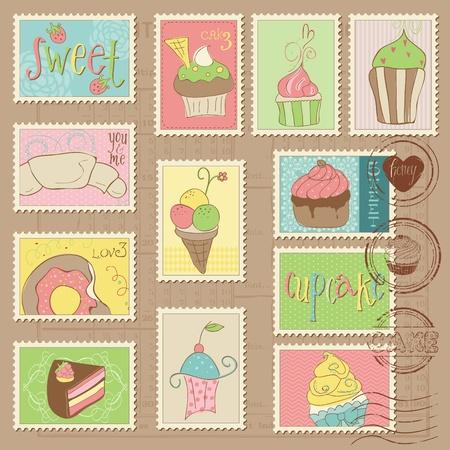 Słodkie ciastka i deserów znaczków pocztowych