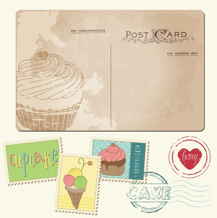 Set of cupcakes on old postcard, with stamps - for design and scrapbooking Vector