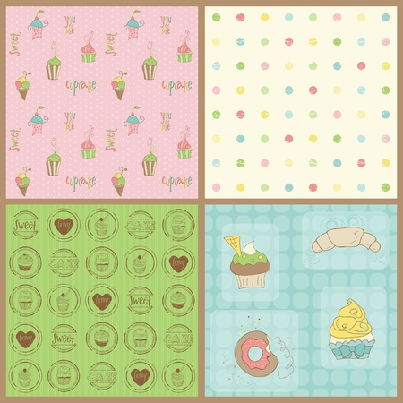 layout strawberry: Set of Beautiful Cupcakes Backgrounds - in vector Illustration
