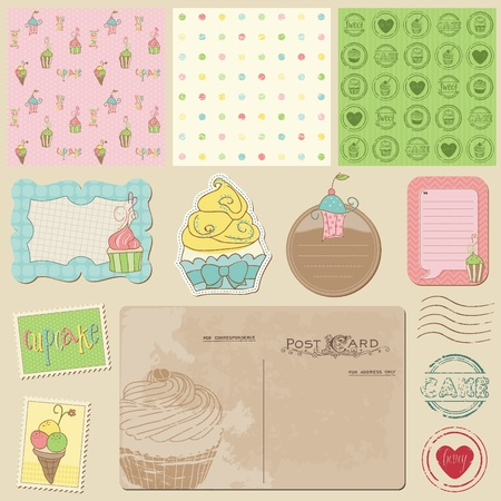 Scrapbook design elements - Sweet Cakes and Desserts Vector
