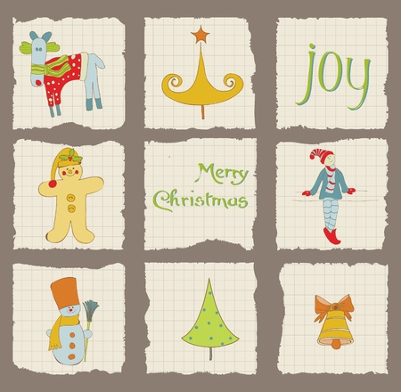Christmas Design Elements on torn Paper - for scrapbook, design, invitation, greetings Stock Vector - 10789149