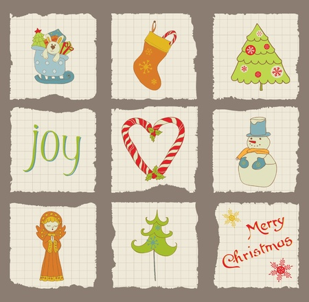 scrap paper: Christmas Design Elements on torn Paper - for scrapbook, design, invitation, greetings