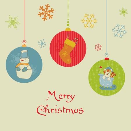 Retro Christmas Balls Card - for scrapbook, design, invitation, greetings  Vector