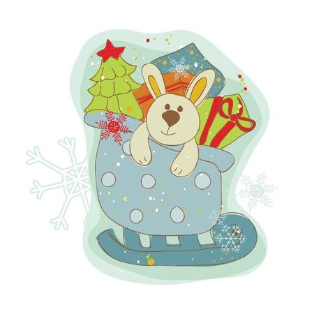 Retro Christmas Bunny Card - for scrapbook, design, invitation, greetings  Vector