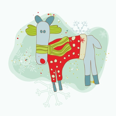 Retro Christmas Reindeer Card - for scrapbook, design, invitation, greetings  Stock Vector - 10789142