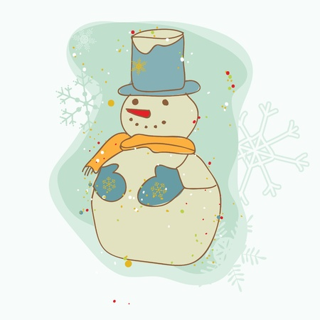 Retro Christmas Snowman Card - for scrapbook, design, invitation, greetings  Vector