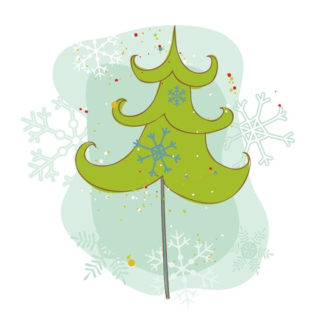 Vintage Christmas Tree Card - for scrapbook, design, invitation, greetings  Stock Vector - 10789150
