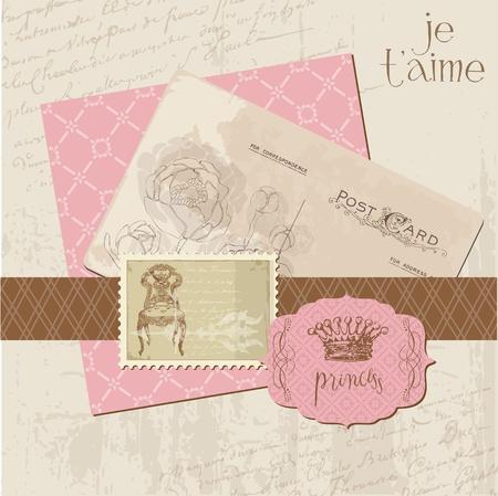 postcard vintage: Scrapbook Vintage design elements Illustration
