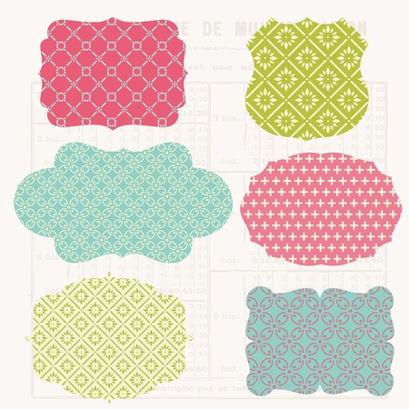 stationary set: Vintage Colorful Design elements for scrapbook - Old tags and frames Illustration