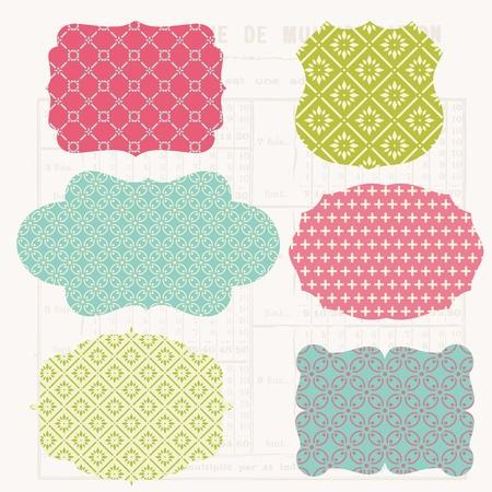 scrap: Vintage �l�ments design color� pour scrapbooking - tags Ancien et cadres Illustration