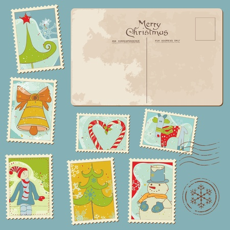 Vintage Christmas Stamps and Postcard - for scrapbook, design, invitation, greetings Vector