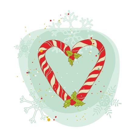 caramelos navidad: Vintage Christmas Candy Wreath tarjeta - para scrapbook, dise�o, invitaci�n, saludos  Vectores