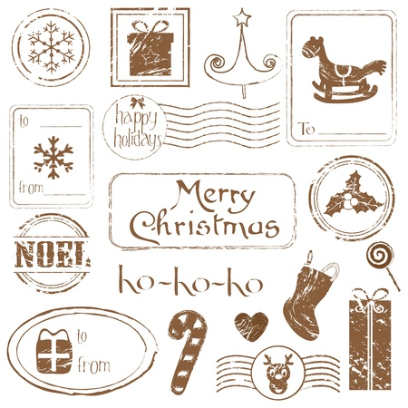Christmas Grunge Stamps Collection - great set for your design, scrapbook, invitation Stock Vector - 10789158