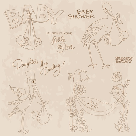 Vintage Baby Shower and Arrival Doodles Set - design elements for scrapbook, invitation, cards Vector