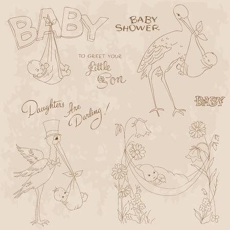welcome party: Vintage beb� ducha y llegada Doodles Set - elementos de dise�o de bloc de notas, invitaciones, tarjetas de Vectores
