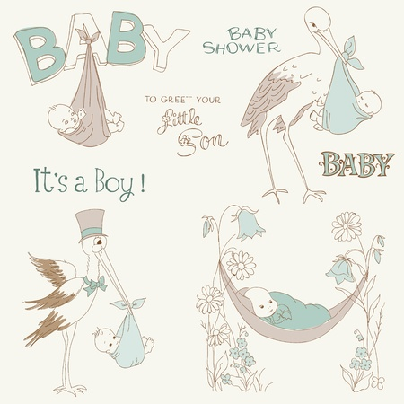 storks: Vintage Baby Boy Shower and Arrival Doodles Set - design elements for scrapbook, invitation, cards Illustration
