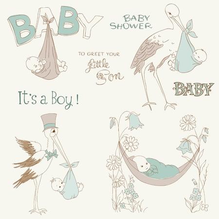 cigue�a: Vintage beb� ducha muchacho y Set Llegada Doodles - elementos de dise�o de bloc de notas, invitaciones, tarjetas de Vectores