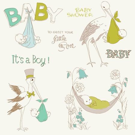 cicogna: Vintage Boy Baby Shower e arrivo Set Doodles - elementi di design per album, inviti, biglietti da Vettoriali