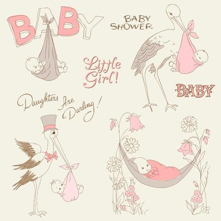 cigue�a: Beb� ducha Vintage Chica y Set Llegada Doodles - elementos de dise�o de bloc de notas, invitaciones, tarjetas de