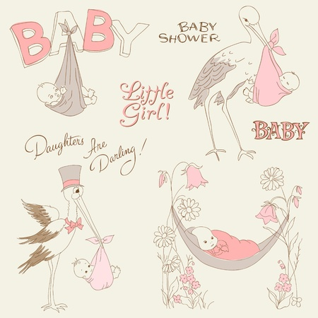 baby shower party: Vintage Baby Girl Shower and Arrival Doodles Set - design elements for scrapbook, invitation, cards Illustration