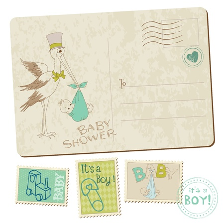 cigue�a: Vintage Baby Boy ducha o postal de llegada con cig�e�a en vector Vectores