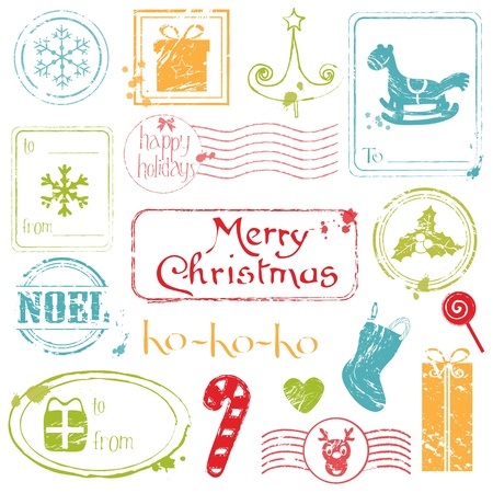 Christmas Grunge Stamps Collection - great set for your design, scrapbook, invitation Vector