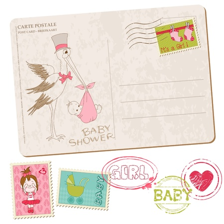 girl in love: Baby Girl Shower Card with set of stamps