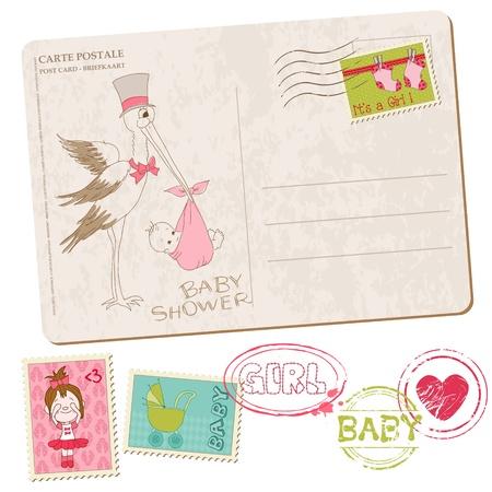 Carte de douche de bébé avec série de timbres Vecteurs