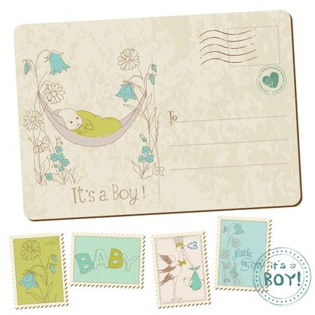 scrapbook cover: Vintage Baby Boy Arrival Postcard in vector
