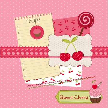 ferraille: �l�ments de conception Scrapbook - Cerisier et desserts dans le vecteur