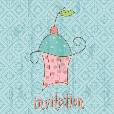 Vintage Invitation Card with cute Cupcake - in vector Vector