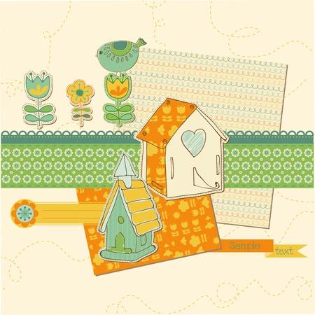Scrapbook design elements - Cute Bird and Bird houses in vector Stock Vector - 11138825