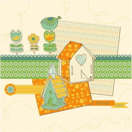 Scrapbook design elements - Cute Bird and Bird houses in vector