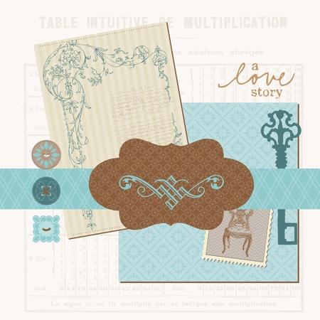 Scrapbook design elements - Vintage Love Set in vector Stock Vector - 11138829