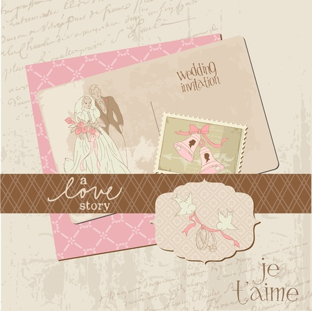 honeymoon: Vintage Wedding Design Elements - for Scrapbook, Invitation in vector