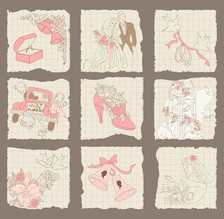 campanas: Amor de papel y de la boda-Elementos para el diseño de la invitación, álbum de recortes en el vector Vectores