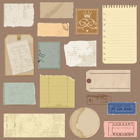 letter memo: Set of Old paper objects - for design and scrapbook in vector
