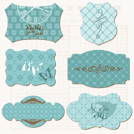 Vintage Design elements for scrapbook - Old tags and frames Vector