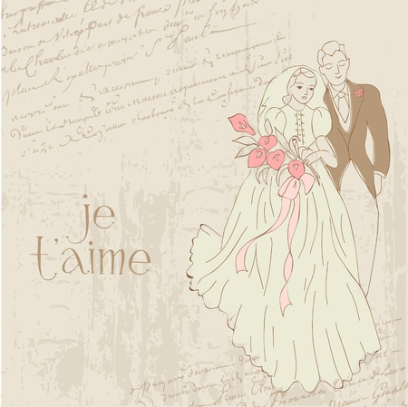 Vintage Wedding Card - for design, invitation, congratulation, scrapbook Vector