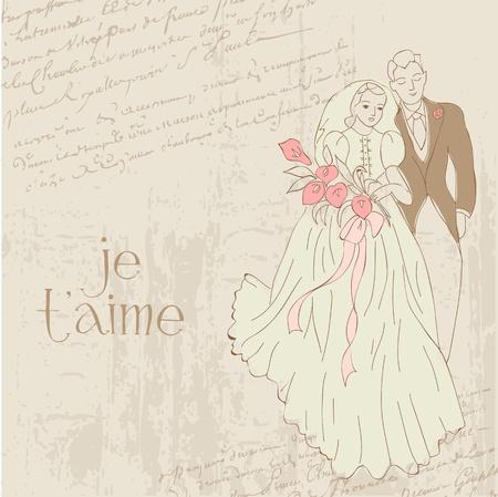 Vintage Wedding Card - for design, invitation, congratulation, scrapbook