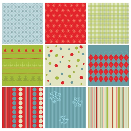 Set of Christmas Seamless Backgrounds - for design and scrapbook in vector Vector