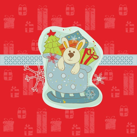 Christmas Card with Bunny  in vector Vector