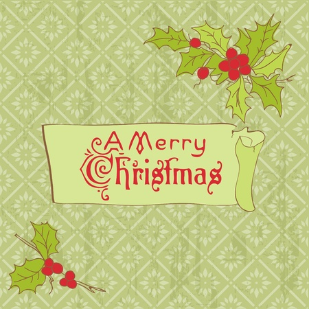Christmas Vintage Card - for scrapbook, invitation, greetings in vector Stock Vector - 11211346